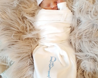 Newborn Baby Boy Monogrammed Baby Boy Swaddle Baby Boy Hospital Outfit Newborn Baby Boy Personalized Baby Gift