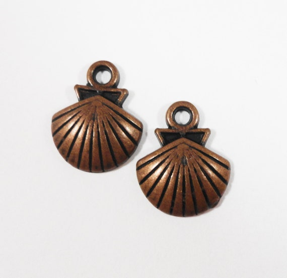 Copper Shell Charms 14x11mm Antique Copper Seashell Charms, Shell Pendants, Nautical Charms, Beach Charms, Metal Charms for Jewelry, 10pcs