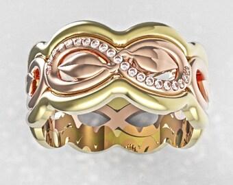 Diamond Infinity Ring, Stacking Gold Leaf Ring, Infinity Leaf Ring, Gold Leaf Ring,Gold Infinity Band,Leaf Wedding Ring,Leaf Engagement Ring