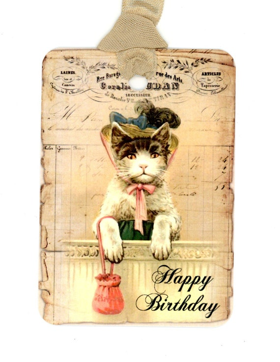 Happy Birthday Tags Gift Vintage Dressed Cat With Hat Shabby Cottage Chic Kitten