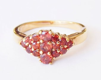 Gorgeous Orange-Red Multi-Stone Ring With Gold Setting - Size 7