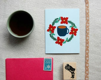 Holiday Card | Holiday greeting card | Christmas wreath card | Tea stationery | Tea Thoughts|Tea lover gift |wreath card | Tea Cup card
