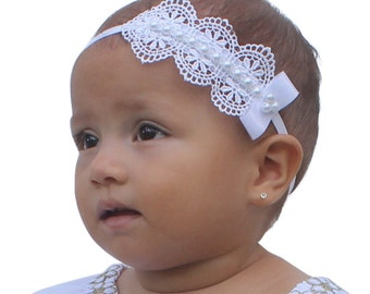 Baptism Headpiece, White Headband, Lace Headband, Baby Headband, Infant Headbands, Newborn Headband, Christening Headband, White Headpiece