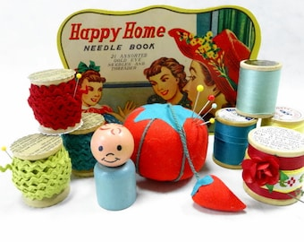 Needful Notions Vintage Tomato Pincushion Thread Spools Colorful Collection Studio Display Supplies Lot
