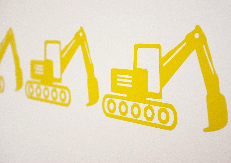 JCB style Digger Excavator Vinyl Wall Art Decals/Stickers