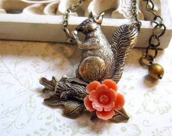 Vintage style squirrel necklace, oak leaf, orange flower, woodland, nature, womens jewelry