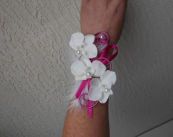 "Bracelet flowers for wedding - white and fuchsia - ""Orchidée"""