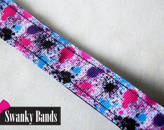 PaintBall- Paint Splattered no slip Headband, Non-Slip headband, Pink and Black headband, Hair Accessories, Swanky Bands, Headbands, 80's