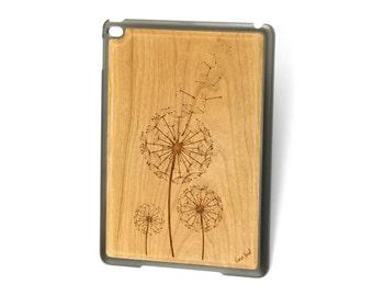 iPad Air case, iPad Mini case, iPad Mini 2 case, iPad 3 case, iPad engraved case, custom iPad case,Dandelion wood engraved case
