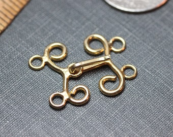 Gold End Links Necklace Ends Hook Clasp Two Loop Jewelry Making Supplies
