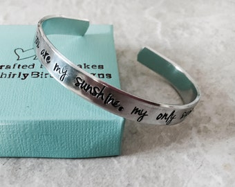 You are my sunshine my only sunshine cuff bracelet personalized bracelet sister mother daughter best friend monogrammed bridesmaid gift