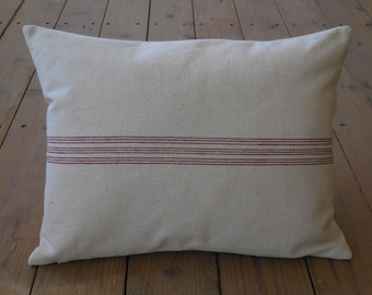 French Grain Sack Pillow,  Red Stripe,  French Farmhouse, Shabby Chic 49, INSERT INCLUDED