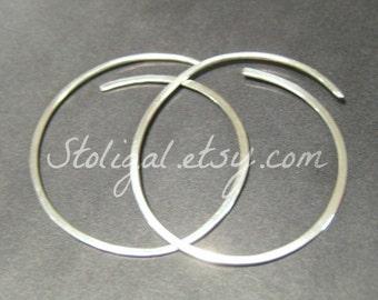 1.5 inch Hammered Sterling Silver Hoop Earrings 1 pair