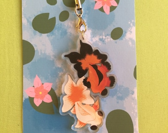 Butterfly Goldfish Acrylic Charm - Clear One-Sided