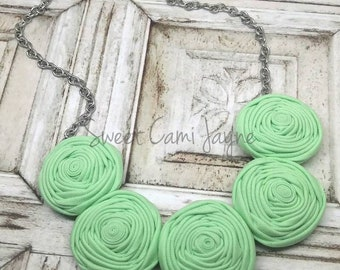 Rosette Necklace Fabric Bib Necklace Statement Necklace Gifts for Women Mint Green Fabric Jewelry Fabric Rosettes Handmade Necklace Girls