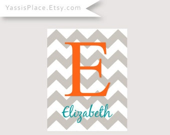 Personalized Decor Chevron Monogram Letter Initial Print - orange, teal and gray, baby shower gift, many colors by YassisPlace