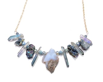Iridescent necklace, Druzy necklace, Slate blue necklace, Quartz necklace, Natural necklace, Cowgirl Chic necklace