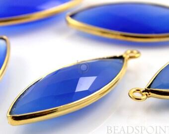 Blue Chalcedony, Bezel Marquise Shape Gemstone Component, Gold Vermeil,   14x32mm 1 Piece, (BZC7202)