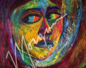 Colorful Abstract Portrait of Girl Looking into the Distance