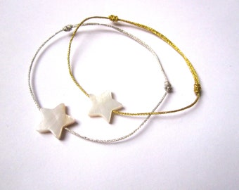 Mother of Pearl star bracelet and lurex