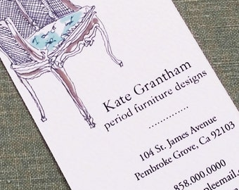 French Louis Chair Business Card for Interior Designer, Stylist - Set of 50
