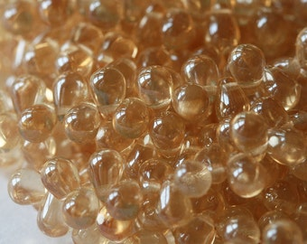 6x4mm Tear Drop Beads - Czech Glass Beads  - Jewelry Making Supply - 4x6 Champagne Gold Drop Beads (100 beads)