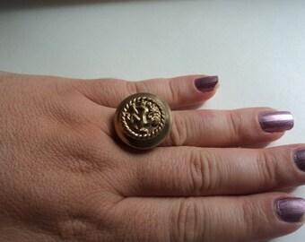 Handmade Lion Crest Button Adjustable Ring
