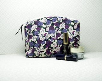 Liberty Fabric Makeup Bag, Liberty of London, Cosmetics Purse, Paper Roses Tana Lawn, Makeup Pouch, Handmade Gift Idea, Made in England