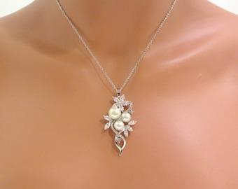 Crystal Bridal necklace, Rhinestone wedding necklace, Bridal jewelry, Cubic zirconia necklace, Pearl necklace, wedding jewelry, MIA