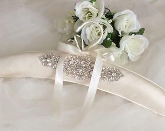 Bridal Gown Hanger, Wedding Dress Hanger, Silk Dress Hanger, Elegant Ivory Dress Hanger, Padded Dress Hanger, Silk Padded Hanger, Bridal Gif