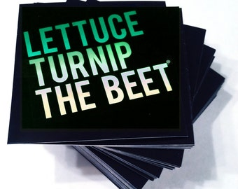 Lettuce turnip the beet ® STICKER SET with classic green logo -farming - gardening - kitchen - funny - vegetable - crossfit - green - chef