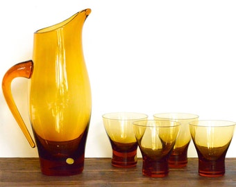 Polish jug and glasses set, five pieces