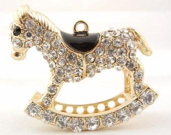 Large Rocking Horse Pendant Gold-tone Rhinestone Encrusted