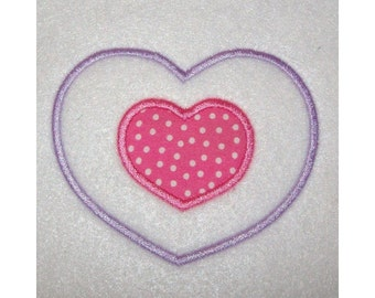 Double Heart Outline with Heart Applique Embroidery Machine Design 677