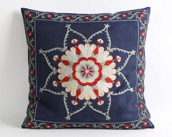 Navy blue silk suzani pillow cover