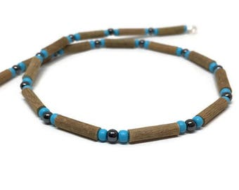 Hazelwood necklace with hematite and blue glass beads
