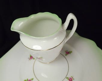 Rosebud Cake Plate ,  PLUS   Cream Jug ,Vintage Gladstone, Green Trim Unused
