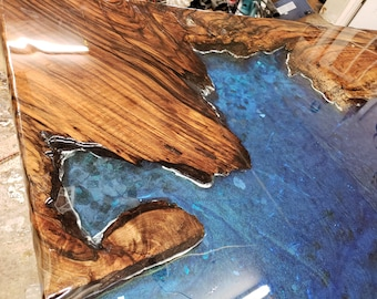 Live Edge Epoxy River Coffee Table - Slab Wood - Custom Order - River Table - Cocktail Table - Conference Table