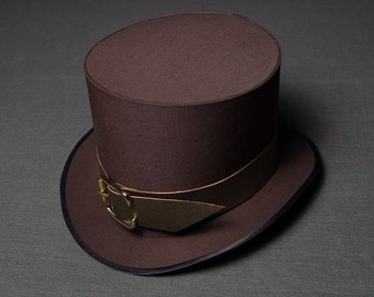 Steampunk Cosplay Brown Top Hat for Costume Steam Punk Top Hat Steampunk Hat Womens Hats Mens Hats Ladies Hats Hatter Vintage Clothing Hat