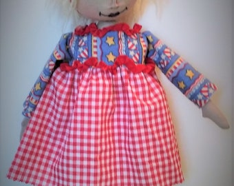 Little Peggy Sue ~ One of a Kind ~ Primitive ~ Folk Art ~ Collectible ~ 4th Of July Doll