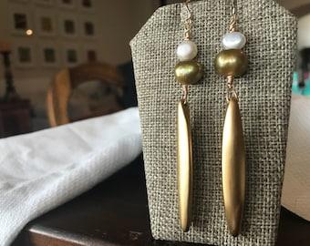 Gold drop freshwater pearl earrings dramatic