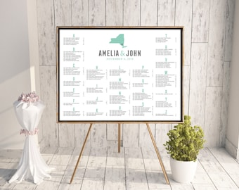 State Seating Chart, Wedding Seating Chart, Printable Seating Chart, DIY Seating Chart, Seating Chart PDF, Place Card, Escort Card, New York