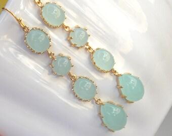Wedding Jewelry, Mint Earrings, Gold, Aqua Mint Earrings, Bridesmaid Jewelry, Bridesmaids Earrings, Dangle, Long Earrings, Wedding Earrings