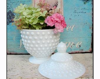 Hobnail Milk Glass Candy Jar by Fenton / Vintage Fenton Milk Glass / Lidded Candy Dish / Wedding Candy Bar Jar