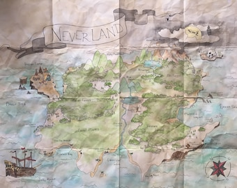 Peter pan map etsy neverland fairytale map peter pan and wendys adventure gumiabroncs Gallery