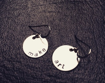 MAKE ART earrings sterling hand stamped custom personalized engraved
