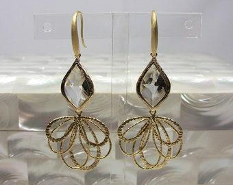 Flamenco Earrings, Gold Earrings, Fashion Jewelry, Dangle Earrings, Drop Earrings, Cubic Zirconia Earrings
