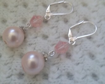 Dusty pink dangle lever back pearl earrings-pink bicone faceted beads-silver lever back ear wires