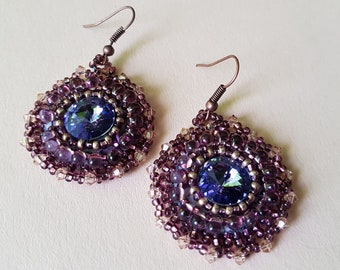 Bead embroidered earrings amethyst.