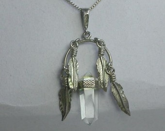 Sterling Silver 925 Pendant With Feathers and Crystal on Sterling 18 Inch Necklace Vintage 07-638